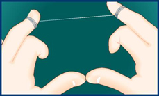 Take a length of floss equal to the distance from your hand to your shoulder